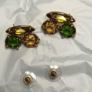 Kate Spade earrings yellow green pierced EUC